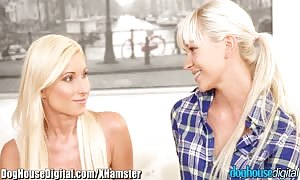 Doghouse amazingly sexy blond lez drills first mommy