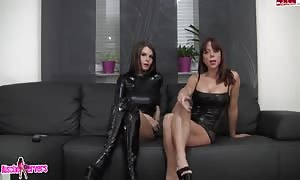 tryout with kinky lezzies in attractive rubber costumes playing on webcam
