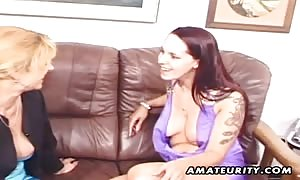 A genuine beginner home made xxx three way action with cum facial cumshot ! 2 turned on mommy sharing one shaft !