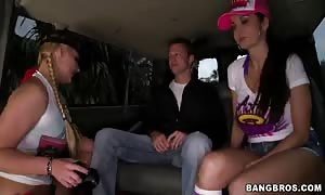 Two cock-swallowing mommies are providing good heads in the Bangbus