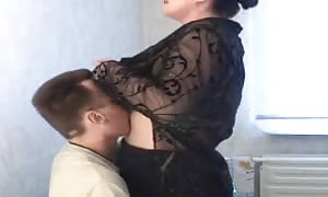 bbw Russian mother is having a hot sex with a thin dude