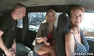 Her small cunt being fucked with energy at the backseat