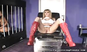 nurse spreading her legs and stretching tiny vagina in front his face