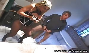 stylish blonde hooker in ebony