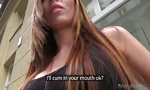 Long-haired slut sucking boner of Public Agent after taking cash