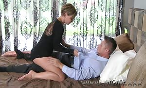 milf aged brown haired drills his cock