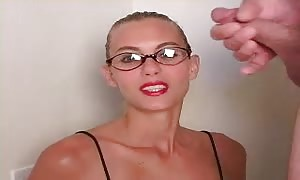 very elegant ho is getting your hands on your hands on a large dose of spunk on her face