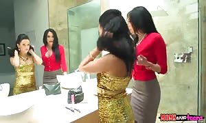 stunning three way action in rest-room with best prostitutes!