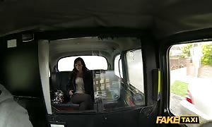 buxom brown haired being seduced and penetrated in the pretend Taxi
