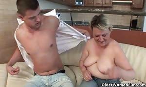 suck your load on grandma's face and abdomen