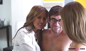 impressive glamour youngster and spicy milf slurps his hard boner