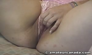 unimaginable blonde is feeling her correct pussy on the bed