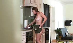 stud with vast cock provocative saggy-tit old lady in kitchen