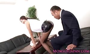 japanese mommy I would desire to screw in stockings rammed at the workplace