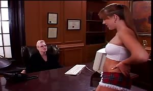 university mistress puts on strap on dildo to screw college student