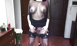 dark haired goddess nails her tiny holes with a sex toy