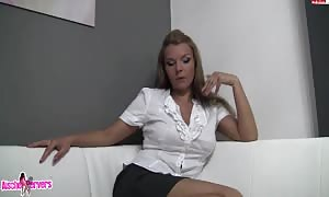 blonde in white shirt sucking and fucking with condom fake cock
