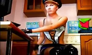 outstanding thin blonde in uniform screws in her fave doggy style in her anal-sex orifice