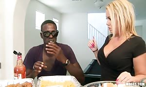 insane turned on blonde with huge natural melons Tara well known individual bangs young black man